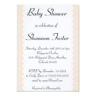 Apricot Pinstripes Baby Shower Invitation