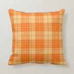 Apricot Plaid  Throw Pillow
