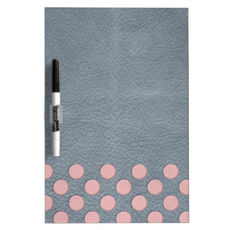 Apricot Polka Dots on Grey Leather Texture Dry-Erase Whiteboard