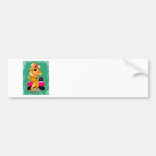 Apricot Poodle 50's Style Bumper Sticker Car Bumper Sticker