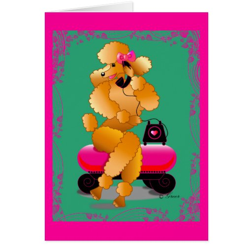 Apricot Poodle 50's Style Card