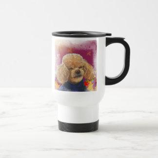 Apricot Poodle Fall Leaves Art Print Travel Mug