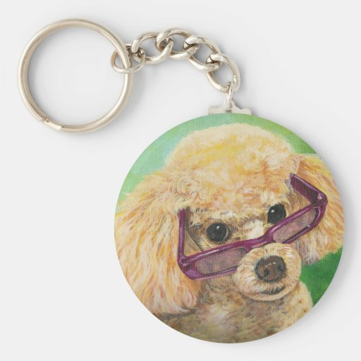 Apricot poodle in shades Art Original Keychain