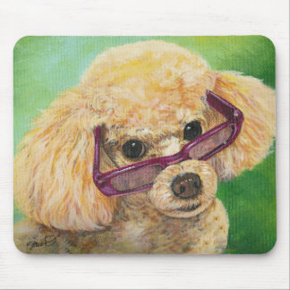 Apricot poodle in shades Art Original Mouse Pad