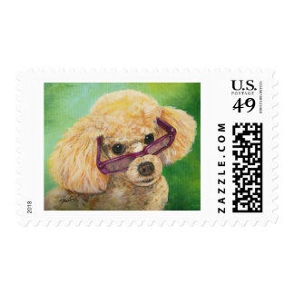 Apricot poodle in shades Art Original Postage Stamp