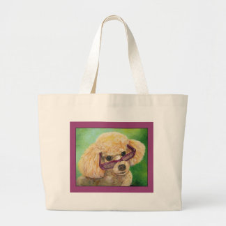 Apricot Poodle in Shades Art Portrait Large Tote Bag