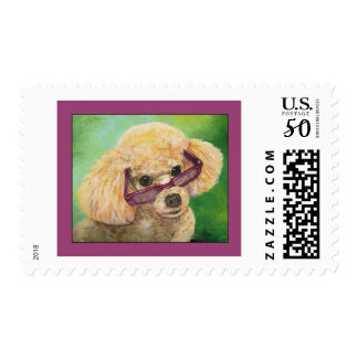 Apricot Poodle in Shades Art Portrait Postage