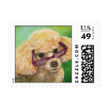 Apricot Poodle in Sunglasses Postage Stamps