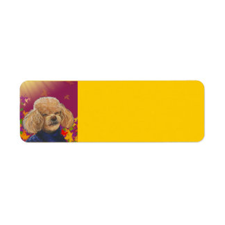Apricot Poodle n Fall Leaves Address Labels