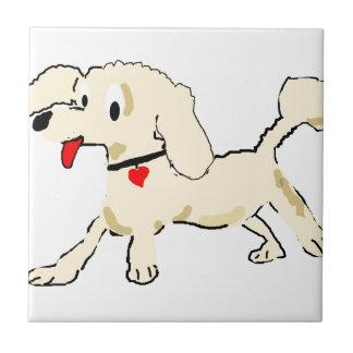 Apricot Poodle Puppy Ceramic Tile