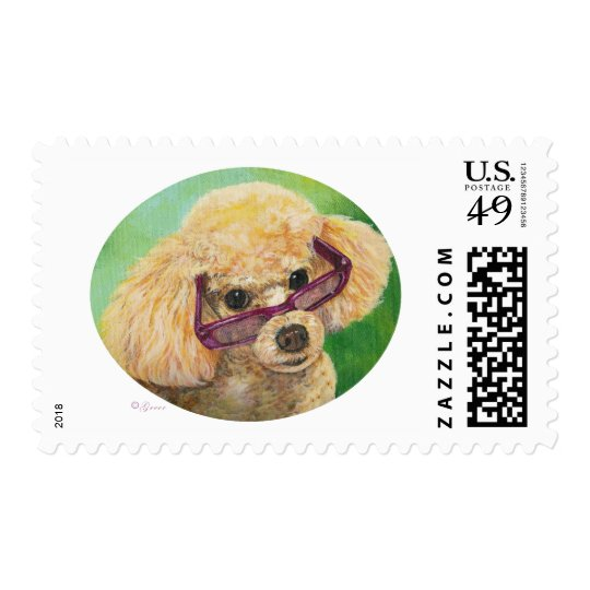 Apricot Poodle wearing Glasses Postage