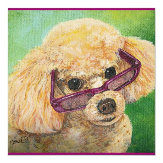 Apricot Poodle with Glasses Card