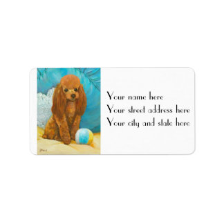 Apricot Red Poodle & Ball Labels