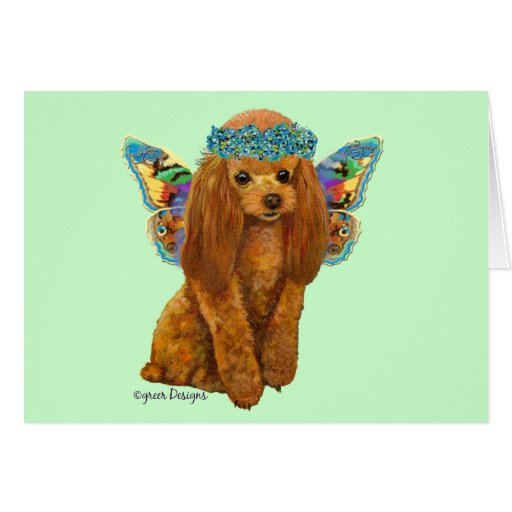 Apricot Red Poodle Fairy Card