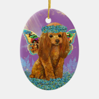 Apricot Red Poodle Puppy Fairy Christmas Tree Ornaments