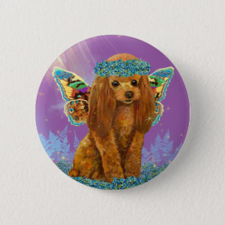 Apricot Red Poodle Puppy Fairy Pinback Button