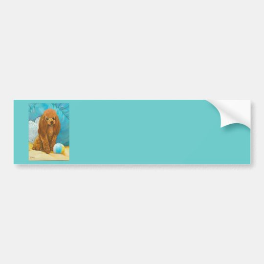 Apricot Red Poodle with Ball Bumper Sticker