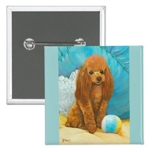Apricot Red Poodle with Ball Button Pin