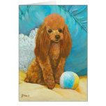 Apricot Red Poodle with Ball Card