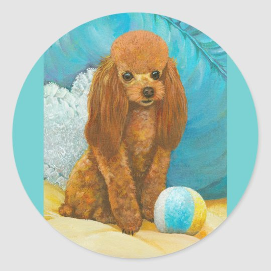 Apricot Red Poodle with Ball Classic Round Sticker