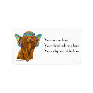 Apricot Red Poodle with Fairy Wings Custom Address Label