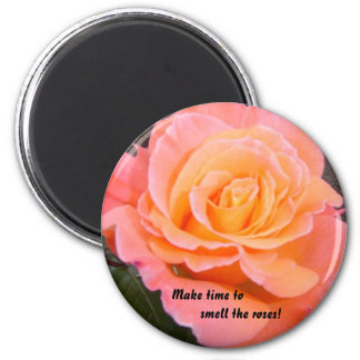 Apricot Rose 2 Inch Round Magnet