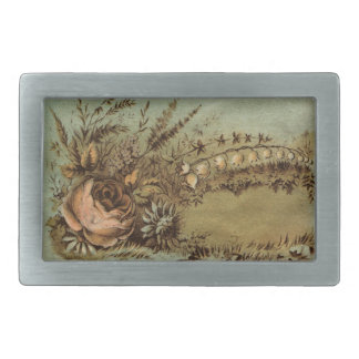 Apricot Rose & Lily of the Valley Victorian Rectangular Belt Buckles