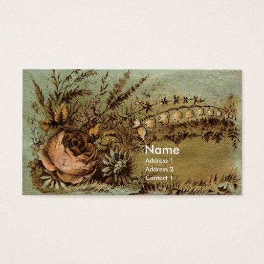 Apricot Rose & Lily of the Valley Victorian Business Card