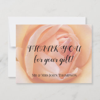 Apricot Rose Personalized Floral Wedding Thank You Note Card