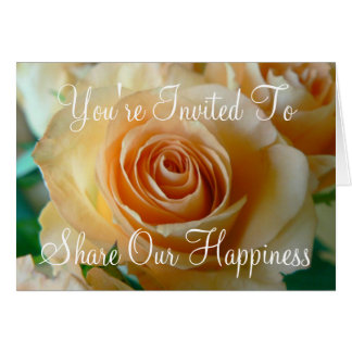 Apricot Rose Wedding Invitation Card