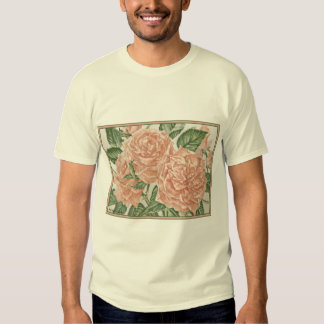 Apricot Roses Flower Garden Painting T-shirt