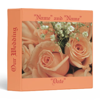 Apricot Roses Wedding Binder for Personalization
