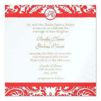 Apricot Snapdragon Coral Damask Gray Green Wedding Invitation