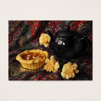 Apricot Tart with Teapot and Carnations ATC Business Card