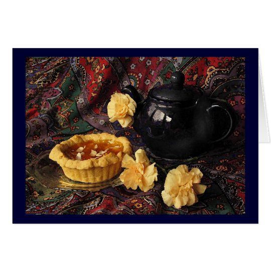 Apricot Tart with Teapot and Carnations Card