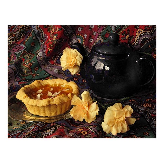 Apricot Tart with Teapot and Carnations