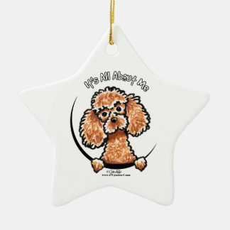 Apricot Toy Miniature Poodle IAAM Double-Sided Star Ceramic Christmas Ornament