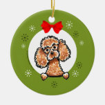 Apricot Toy Poodle Christmas Classic Double-Sided Ceramic Round Christmas Ornament