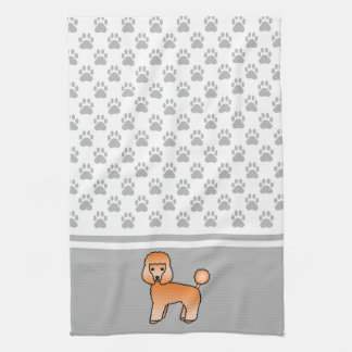 Apricot Toy Poodle Dog And Grey Paws Pattern Hand Towel