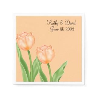 Apricot Tulips (Wedding) Paper Napkin