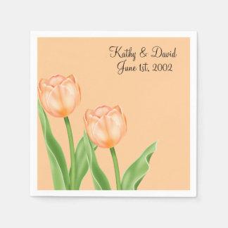 Apricot Tulips Wedding Paper Napkin