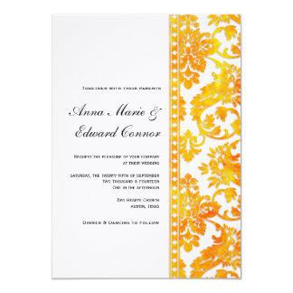 Apricot Vintage Damask Lace Wedding Invitation