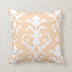 Apricot Vintage Pattern Damask Pillow