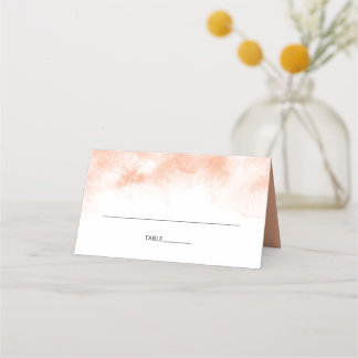 Apricot Watercolor Modern Calligraphy Wedding Place Card