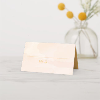 Apricot Watercolor Wedding Table Number Place Card