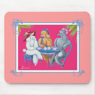 Apricot White and Silver Poodle Party Mouse Pad