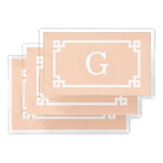 Apricot White Greek Key Frame #2 Initial Monogram Acrylic Tray