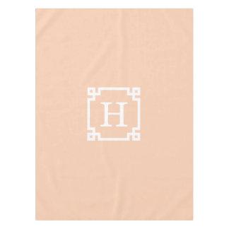 Apricot White Greek Key Frame #2 Initial Monogram Tablecloth