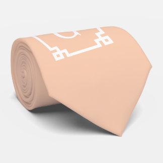 Apricot White Greek Key Frame #2 Initial Monogram Tie