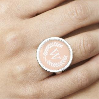 Apricot White Wheat Laurel Wreath Initial Monogram Rings